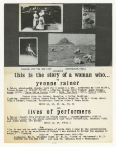 Yvonne Rainer, This is the story of a woman who..., Theater for the New City, New York, 1973 (announcement); ; Sammlung Marzona, Kunstbibliothek – Staatliche Museen zu Berlin