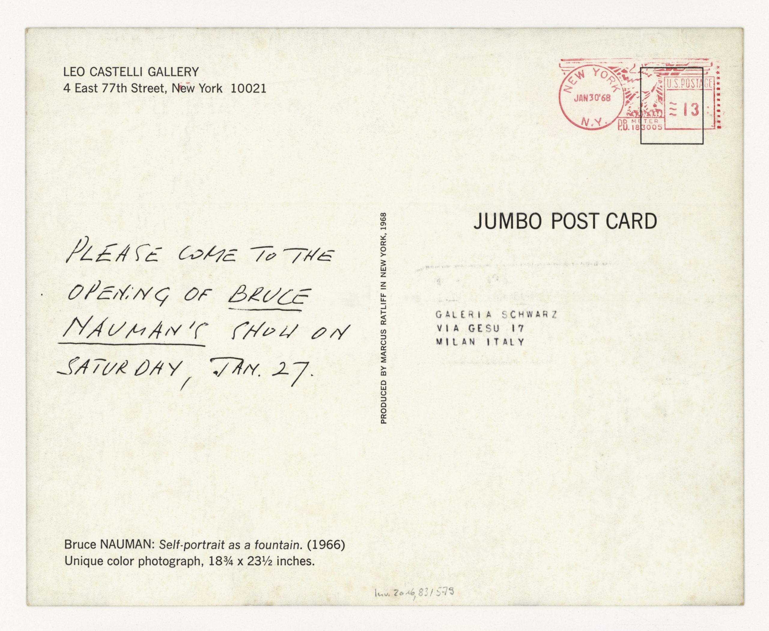 Bruce Nauman, Leo Castelli Gallery, New York 1968 (invitation); ; Sammlung Marzona, Kunstbibliothek – Staatliche Museen zu Berlin; VG Bild-Kunst, Bonn.