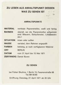 Daniel Buren, Folker Skulima, Berlin 1971 (invitation); Sammlung Marzona, Kunstbibliothek – Staatliche Museen zu Berlin; VG Bild-Kunst, Bonn.