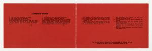 Lawrence Weiner, Galerie Konrad Fischer Düsseldorf, 1969 (invitation); Sammlung Marzona, Kunstbibliothek – Staatliche Museen zu Berlin; VG Bild-Kunst, Bonn.
