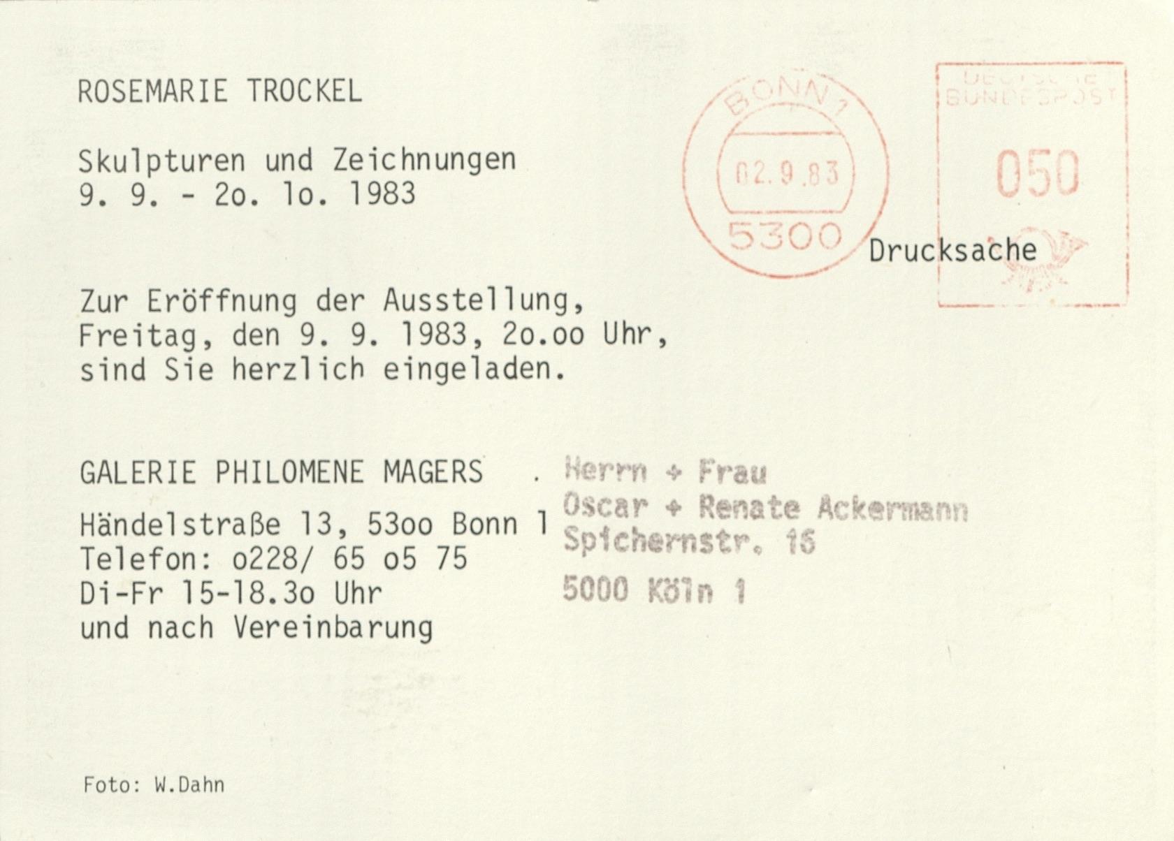 Rosemarie Trockel, Galerie Philomene Magers, Bonn, 1983 (invitation); Archiv der Avantgarden, Staatliche Kunstsammlungen Dresden; VG Bild-Kunst, Bonn