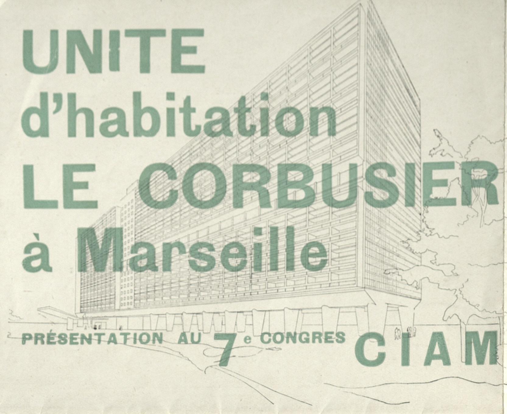 "Le Corbusier,  ""Habitation Le Corbusier"" 7. Congress CIAM., Bergamo, 1949 (invitation poster); ; Archiv der Avantgarden, Staatliche Kunstsammlungen Dresden"
