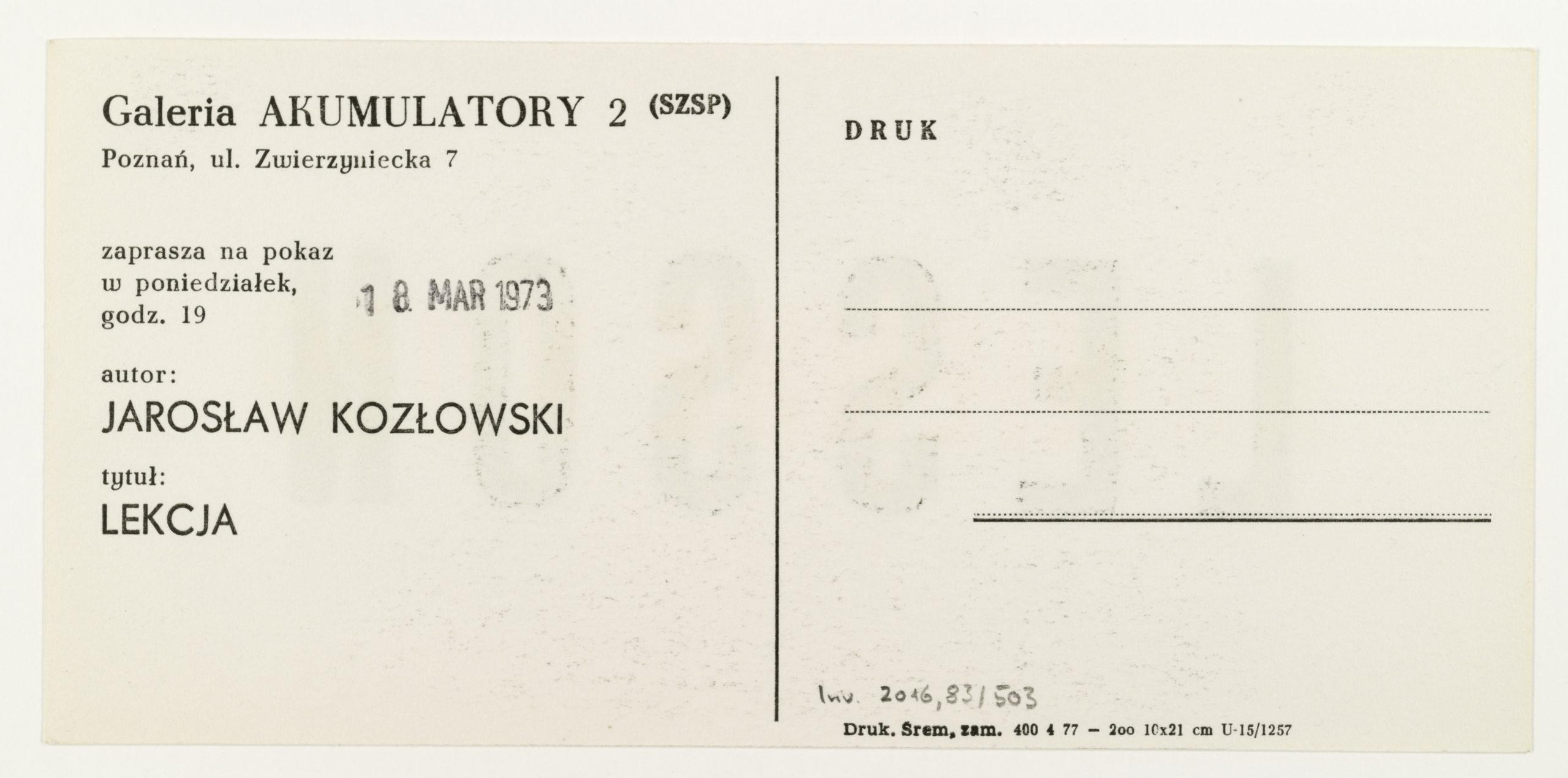 Jarosław Kozłowski, LEKCJA, Galeria Akumulatory 2, Poznań 1973 (invitation); Sammlung Marzona, Kunstbibliothek – Staatliche Museen zu Berlin