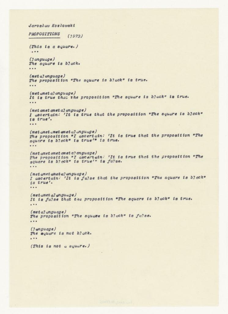 Jaroslaw Kozlowski, Propositions 1973 (notes); Sammlung Marzona, Kunstbibliothek – Staatliche Museen zu Berlin