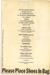 FIVE CHOREOGRAPHERS IN THREE DANCE CONCERTS, Los Angeles Museum of Art 1966 (invitation); Archiv der Avantgarden, Staatliche Kunstsammlungen Dresden.