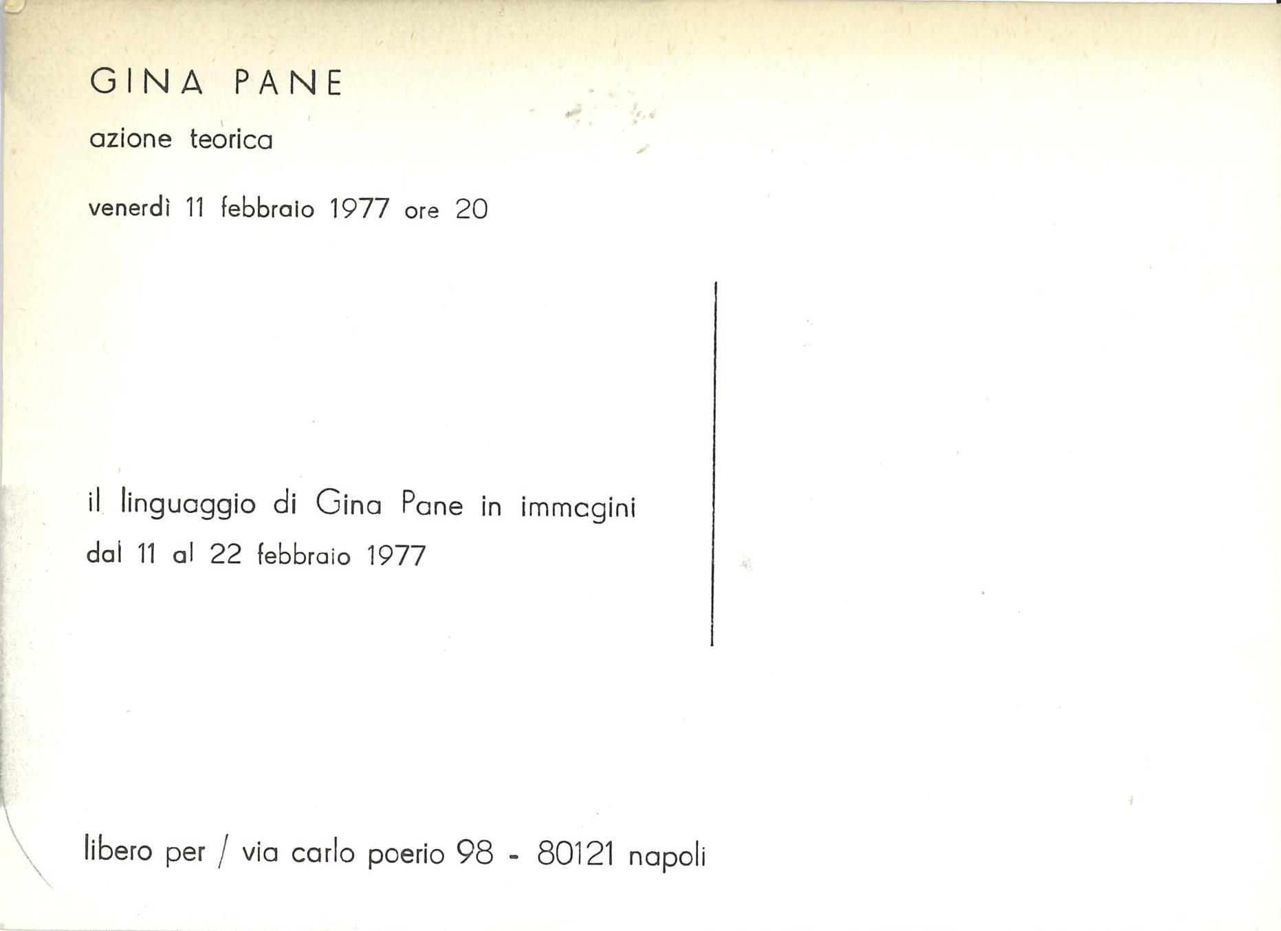 Gina Pane, AZIONE TEORICA, libero per, Napoli 1977 (invitatIon); Archiv der Avantgarden, Staatliche Kunstsammlungen Dresden; © VG Bild-Kunst, Bonn