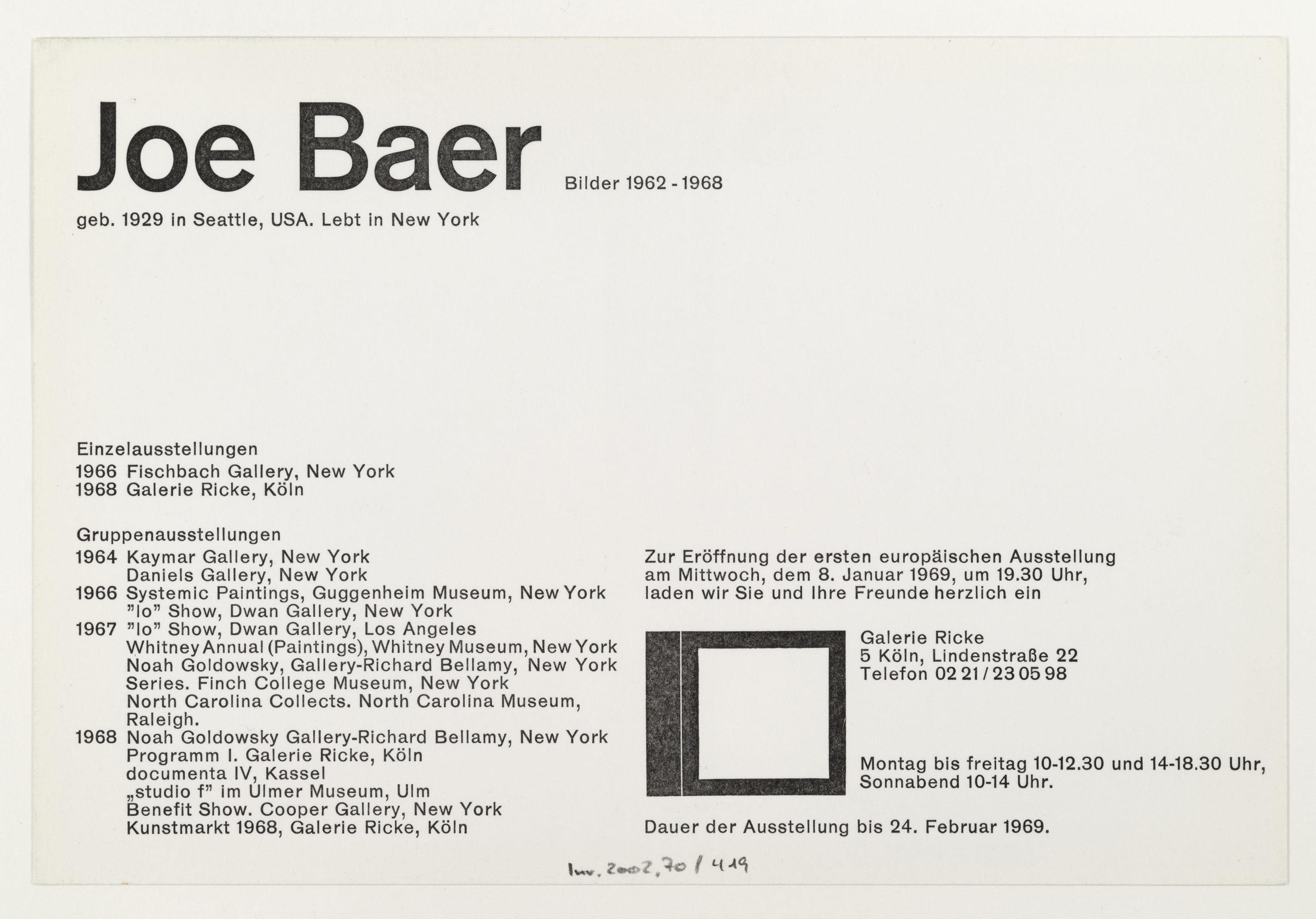 Jo Baer, Galerie Rolf Ricke, Cologne 1969 (Invitation); Sammlung Marzona, Kunstbibliothek – Staatliche Museen zu Berlin