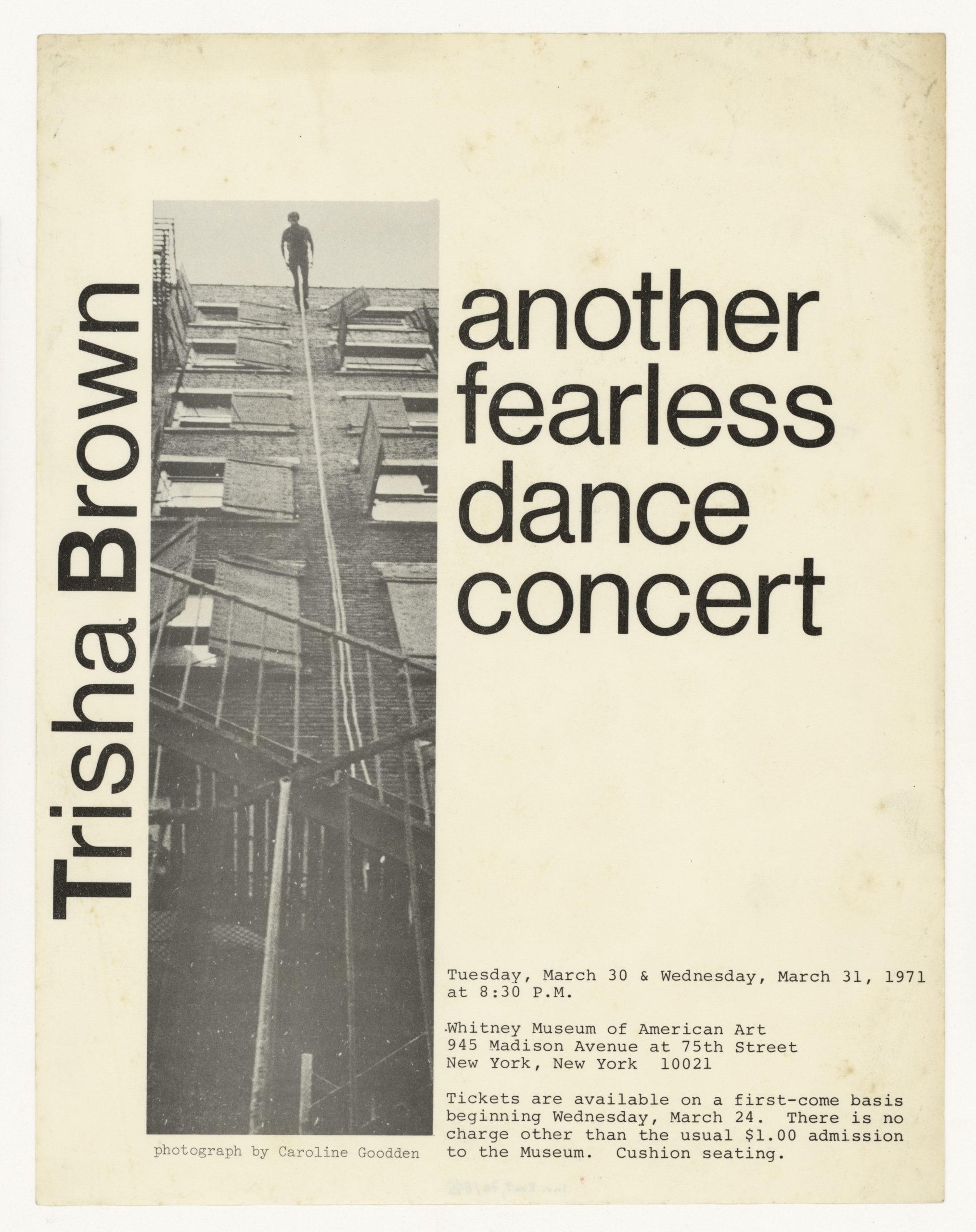 Trisha Brown, Whitney Museum of American Art, New York 1971 (invitation poster); Sammlung Marzona, Kunstbibliothek – Staatliche Museen zu Berlin