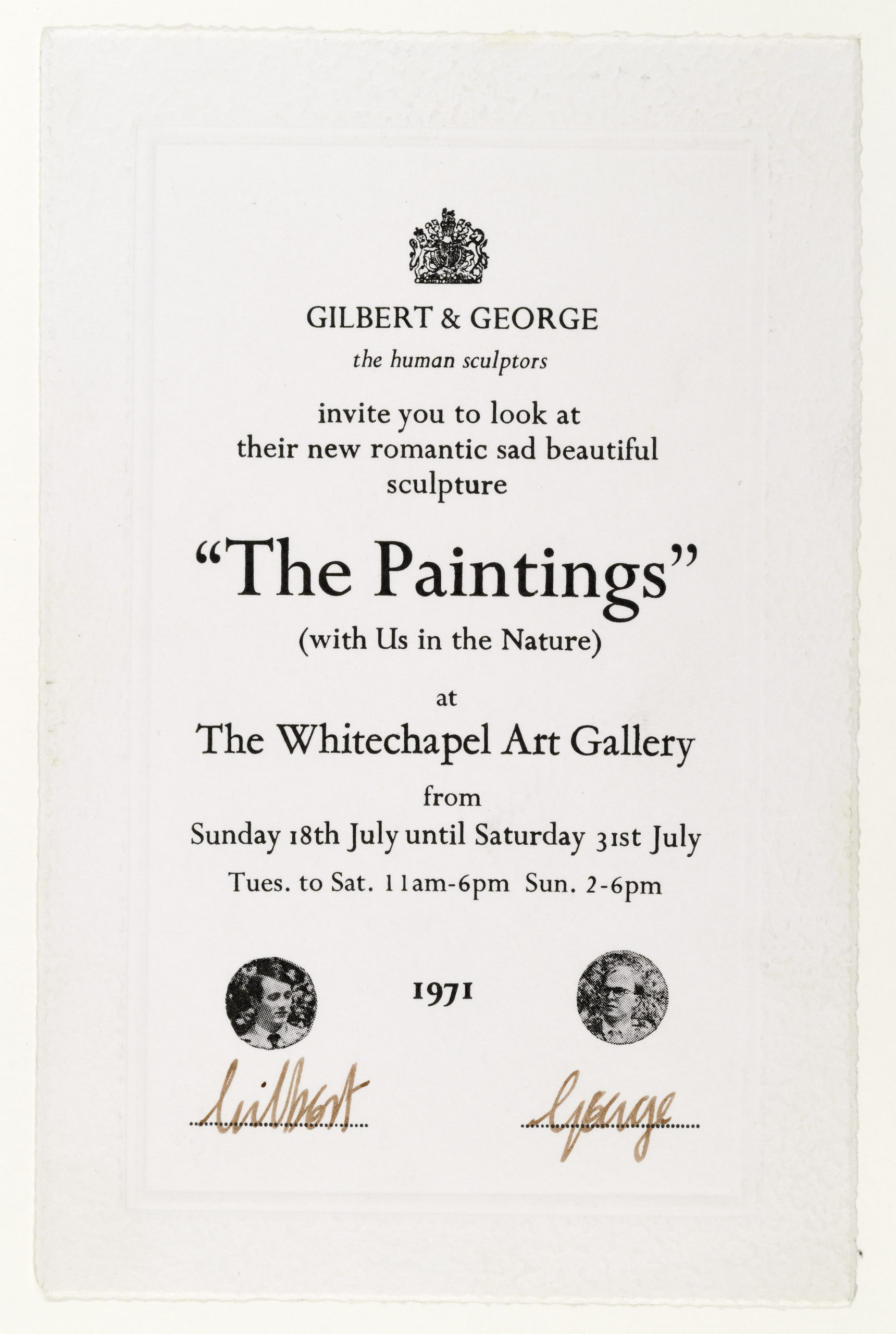 "Gilbert & George, ""The Paintings. With Us in Nature"", Whitechapel, London 1971 (Invitation); Sammlung Marzona, Kunstbibliothek – Staatliche Museen zu Berlin"