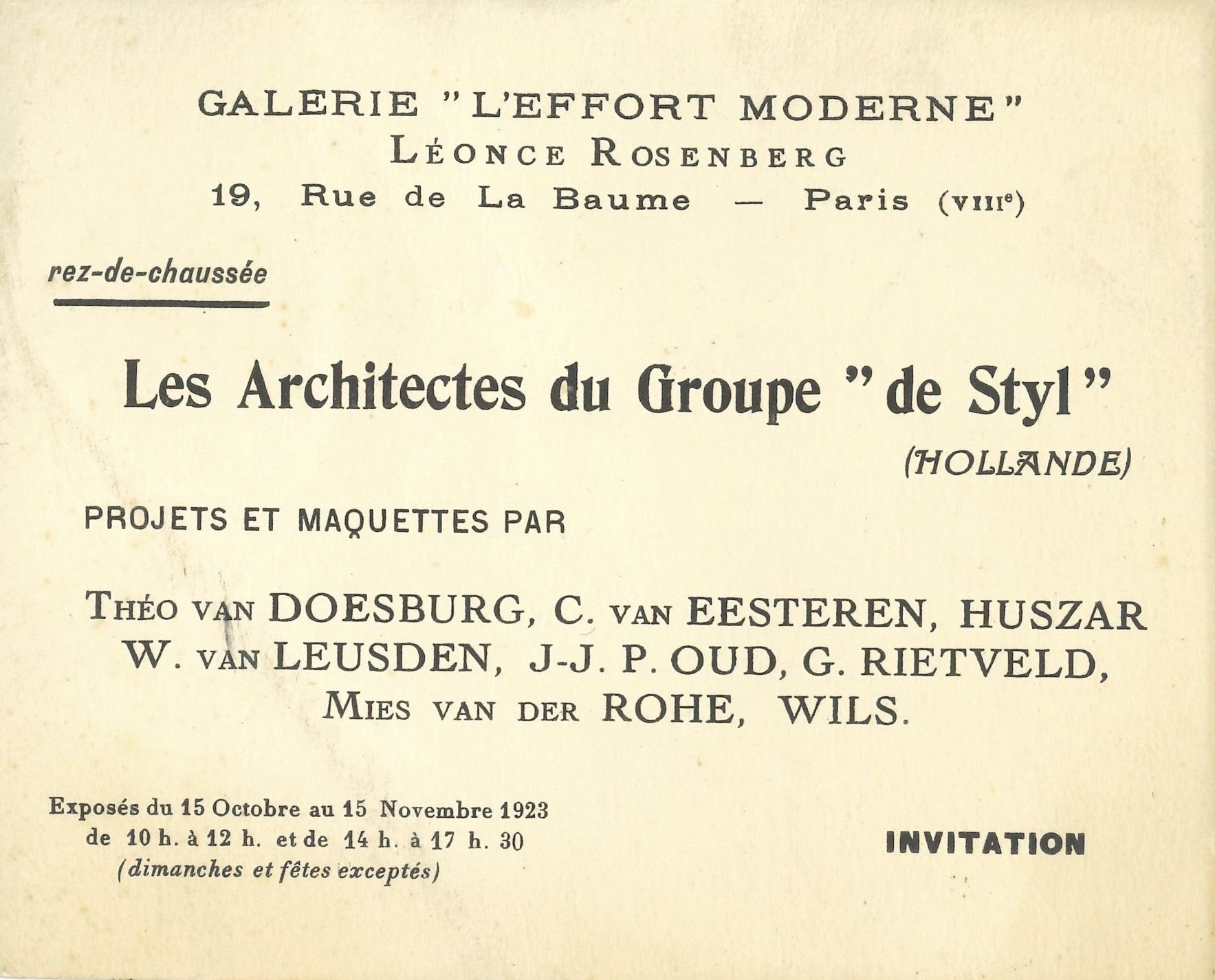"LES ARCHITECTES DU GROUPE ""DE STYL"", Galerie L'Effort Moderne, Paris 1923 (invitation) Archiv der Avantgarden, Staatliche Kunstsammlungen Dresden"