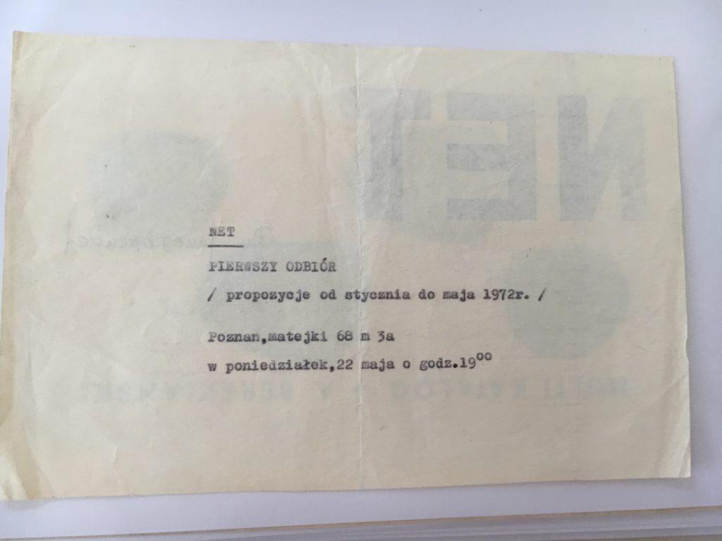 Pierwszy Odbiór at NET (organised by Jaroslaw Kozlowski), 1972 (invitation); Collection Egidio Marzona, Snapshot taken by Anna-Lena Werner