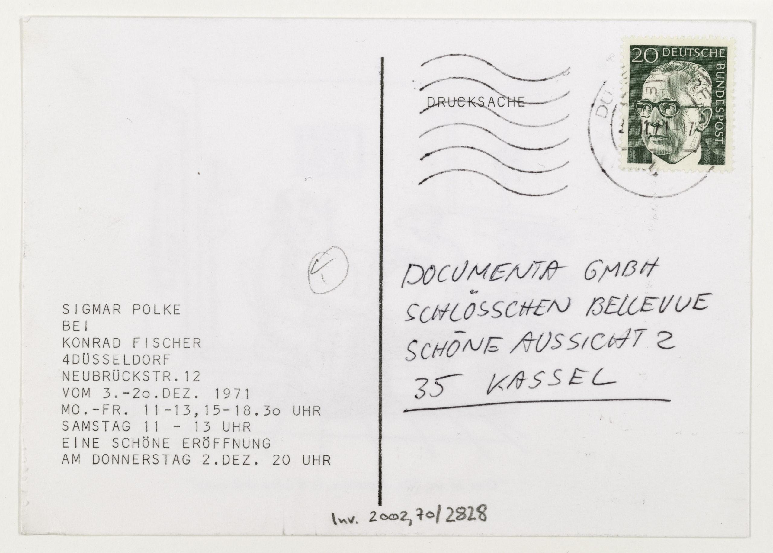 Sigmar Polke, Konrad Fischer Galerie, Düsseldorf, December 1971 (Invitation); ; Sammlung Marzona, Kunstbibliothek – Staatliche Museen zu Berlin; VG Bild-Kunst, Bonn
