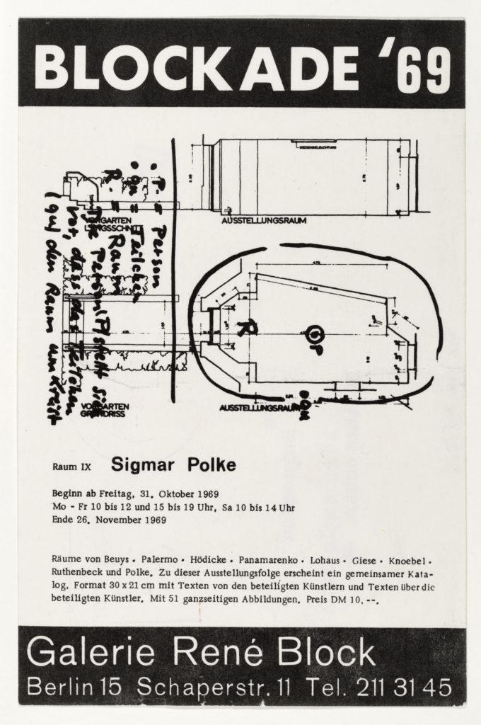 Sigmar Polke, René Block Galerie Berlin, November 1969 (Invitation); Sammlung Marzona, Kunstbibliothek – Staatliche Museen zu Berlin; VG Bild-Kunst, Bonn