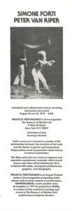 Simone Forti & Peter van Riper, PROJECTS PERFORMACE, Summergarden, The Museum of Modern Art New York, 1976 (Announcement); Archiv der Avantgarden, Staatliche Kunstsammlungen Dresden