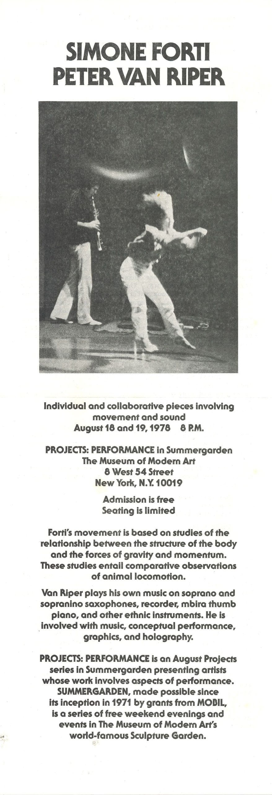 Simone Forti & Peter van Riper, PROJECTS PERFORMACE, Summergarden, The Museum of Modern Art New York, 1976 (Announcement); Archiv der Avantgarden, Staatliche Kunstsammlungen Dresden