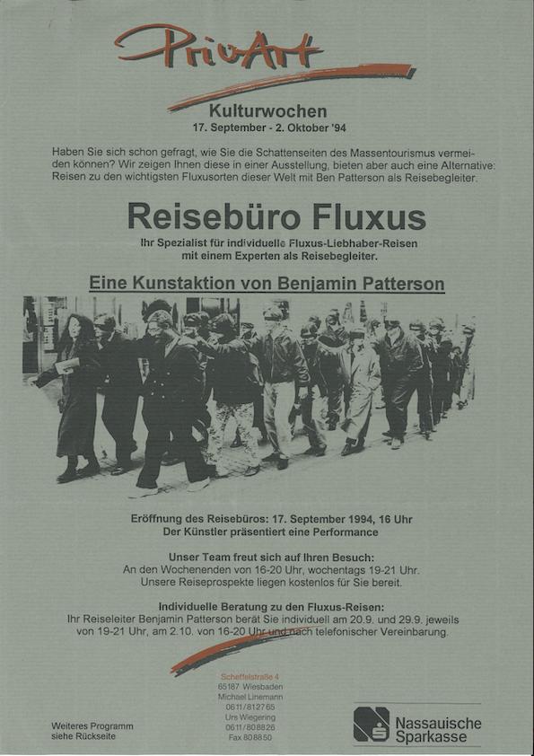 Benjamin Patterson, Reisebüro Fluxus, Priv Art, Wiesbaden, 1994(announcement) Archiv der Avantgarden, Staatliche Kunstsammlungen Dresden